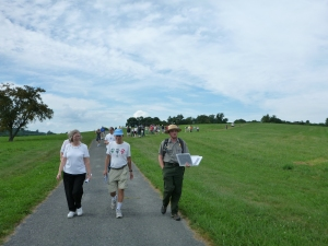 Leading visitors towards the Opequon Church